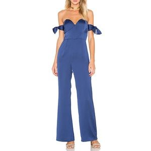 Privacy Please Navy Basinger Navy Silky Jumpsuit